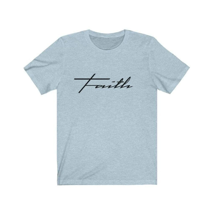 Bella & Canvas 3001 T-Shirt Faith in 14 colors and 7 sizes Heather Ice Blue / XS T-Shirt