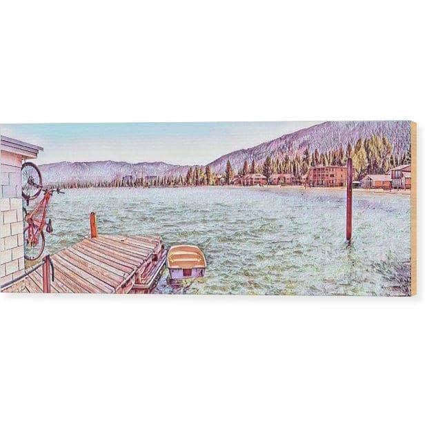 "Wood Print ""Bicycle On A Pier"""
