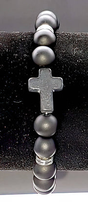 Black Bead Cross Bracelet (4474298204254)