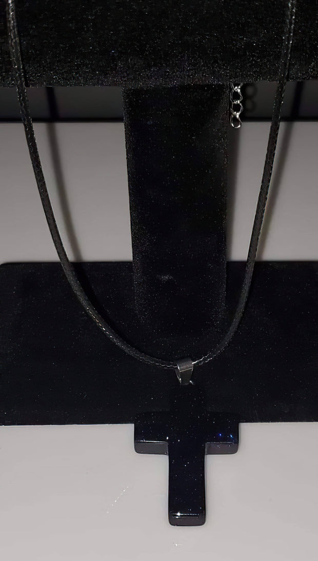 Blue Sand Gemstone 1.6 inch Cross Necklace with Black or White Rope Chain (4395374248030)