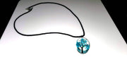 Tree of Life Dried Flower Glass Oval Terrarium Necklace in Blue or Light Blue (4381605199966)