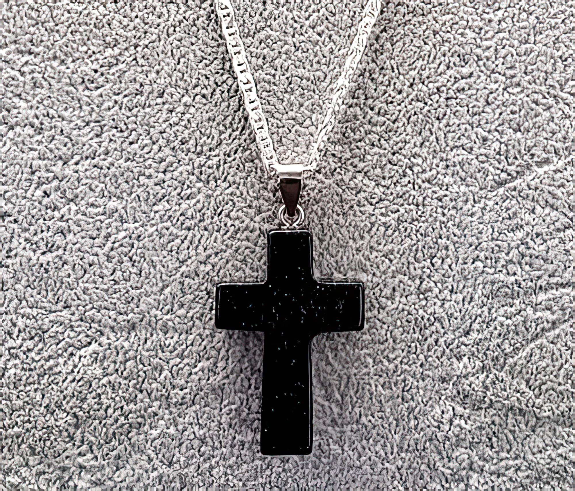 Blue Sand Gemstone 1.6 inch Cross Necklace with Black or White Rope Chain Free Shipping (4395374248030)