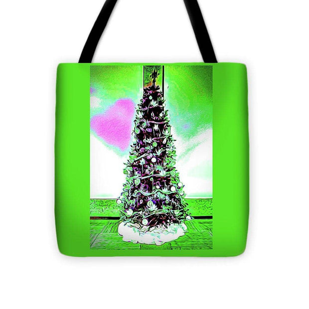 Tote Bag - Christmas Tree Pink Heart in 3 Sizes (4310837166174)