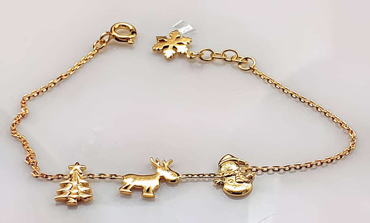Christmas Charm Bracelet Yellow Gold Plated on 925 Sterling Silver (4784760684638)