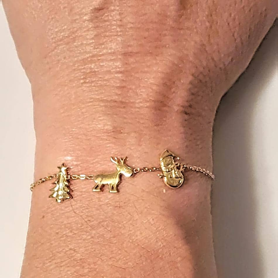 Christmas Charm Bracelet Yellow Gold Plated on Solid 925 Sterling Silver (4784760684638)