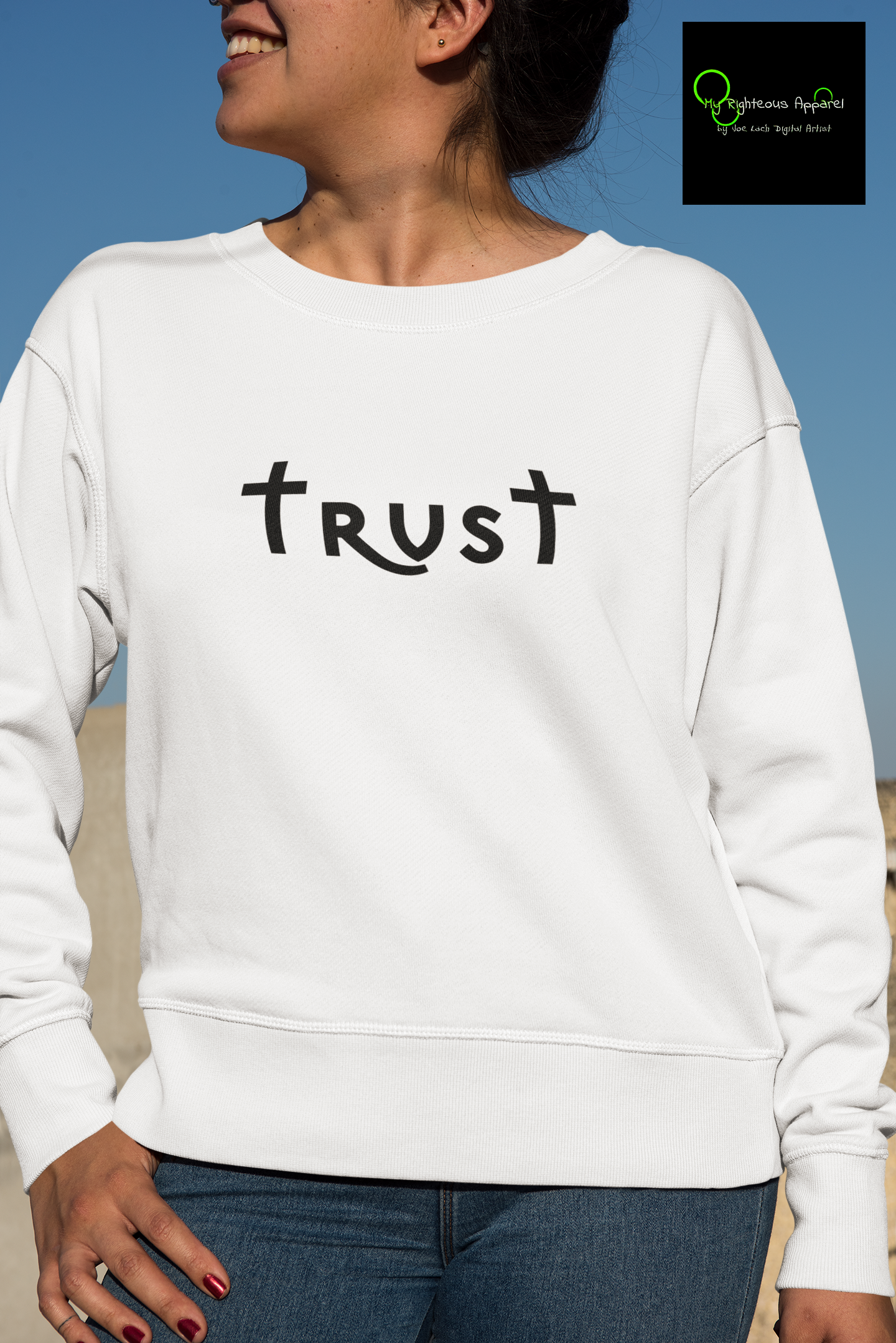 "Heavy Blend™ Crewneck Sweatshirt ""Trust"" black font (4757053472862)"