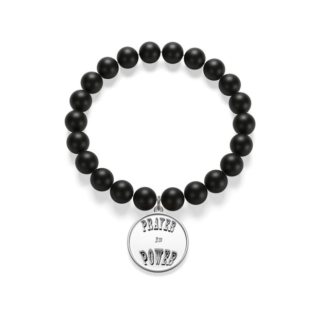 "Matte Onyx Bracelet ""Prayer is Power"""