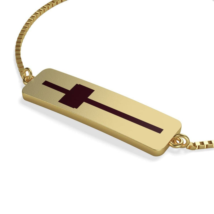 Box Chain Bracelet Gold Plated Cross (3595534598244)