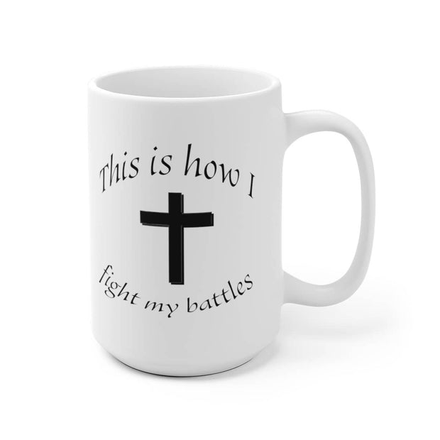 "White Ceramic Mug ""Battles"" in 11 oz or 15 oz"