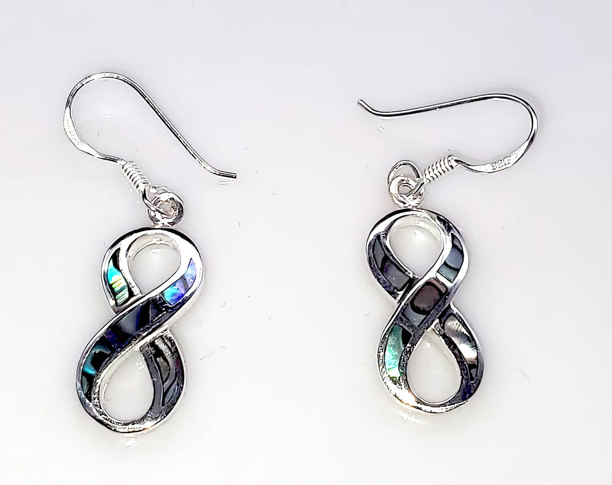 Abalone Infinity Earrings 925 Sterling Silver (4703837454430)