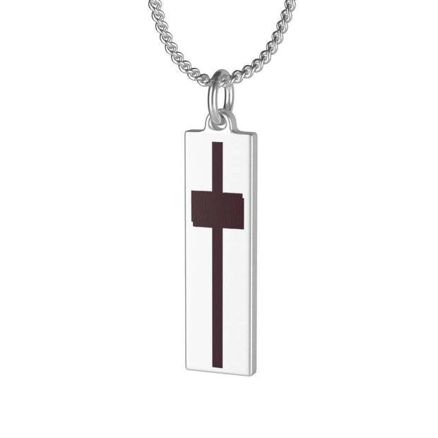 Single Loop Necklace Laurel Charm Brown Cross in 16 or 30 inches