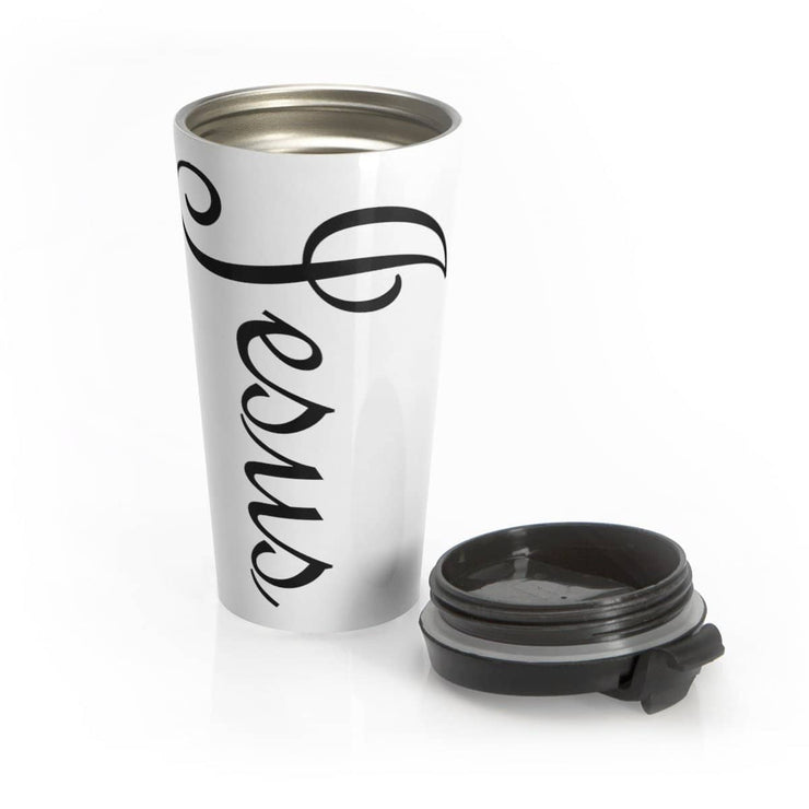 "Stainless Steel 15 oz Travel Mug ""Jesus"""