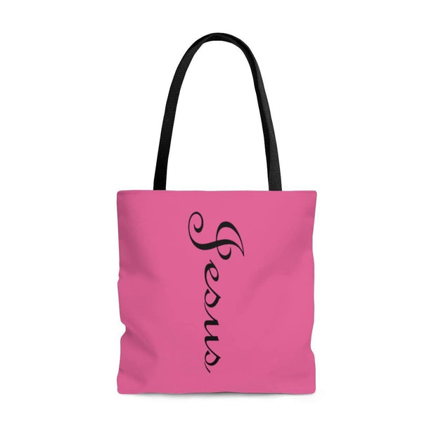AOP Tote Bag Jesus Printed on both Sides Pink with a Black Handle in 3 Sizes Bags