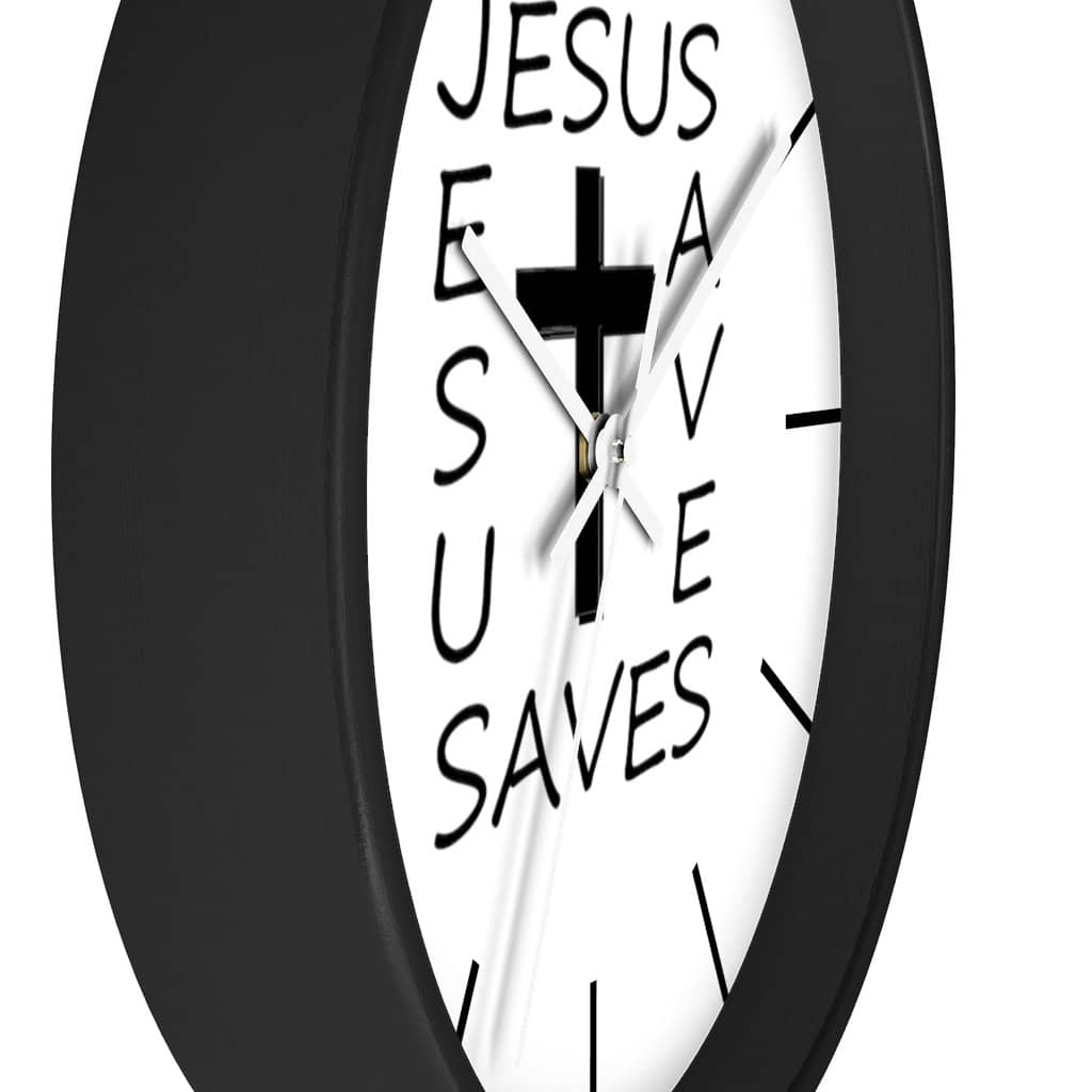 "Wall Clock ""Jesus Saves"" in Black or White Frame (3350461382756)"