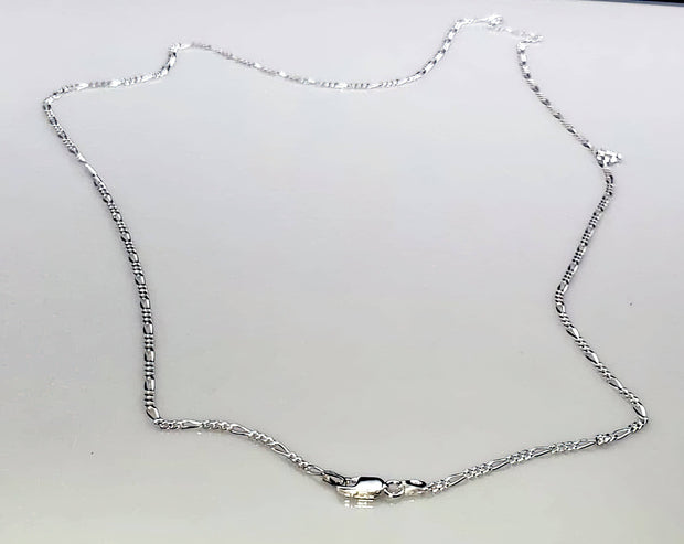 "Figaro Chain 060-2.3MM  .925 Solid Sterling Silver 16""30"" (4567875715166)"