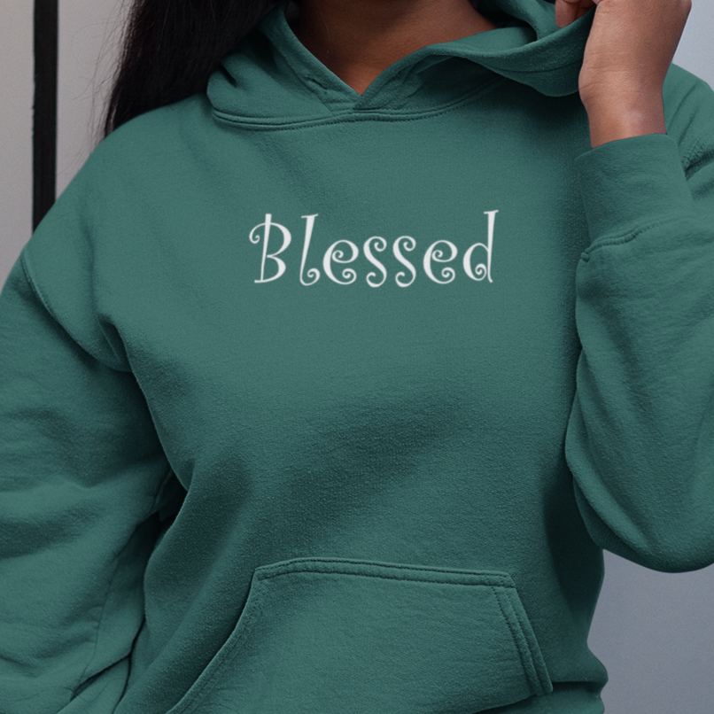 "Heavy Blend™ Hooded Sweatshirt ""Blessed"" in 7 Colors and 8 Sizes to 5XL (4170981245022)"