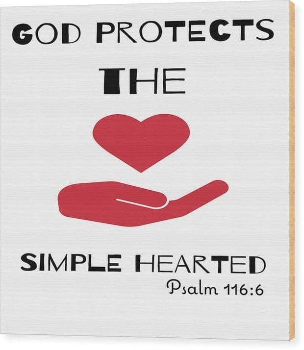 "Wood Print  ""God Protects The Simple Hearted"" in 11 Sizes"