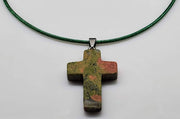 Heliotrope Gemstone Cross Necklace 1.6 inch Cross Free Shipping (4377283592286)