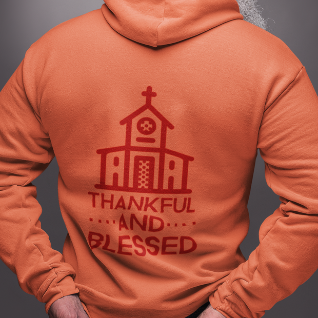 Thankful and Blessed (Red Theme) Unisex Heavy Blend Hooded Sweatshirt (11 Colors and 8 Sizes) Hoodie