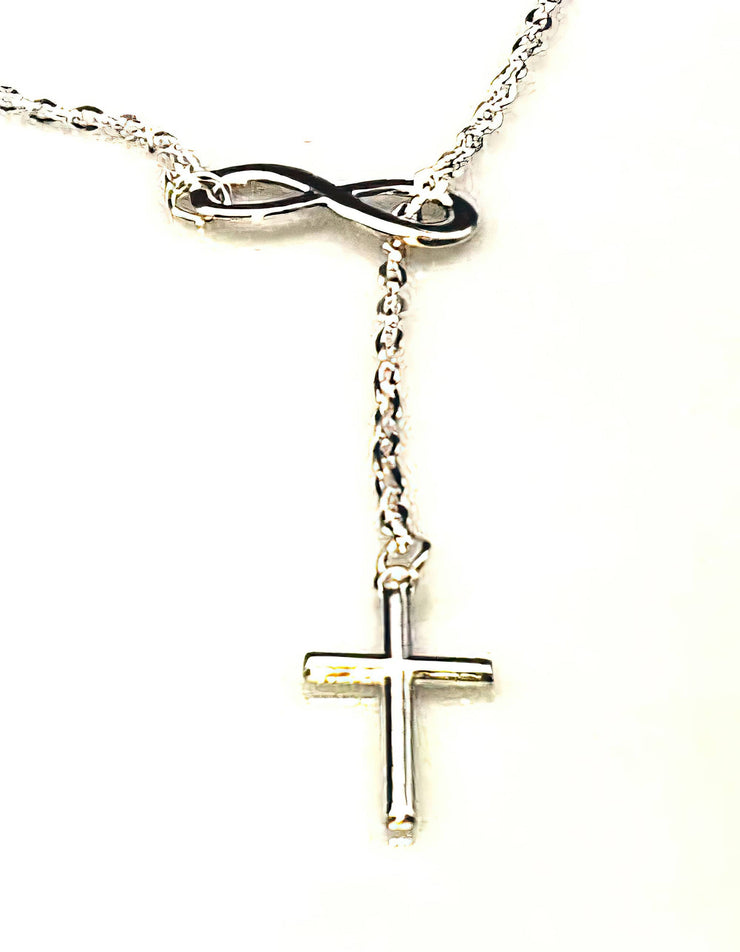 Infinity Cross Silver Plated Pendant Necklace 20.5 inches Free Shipping from the USA (3961575538782)