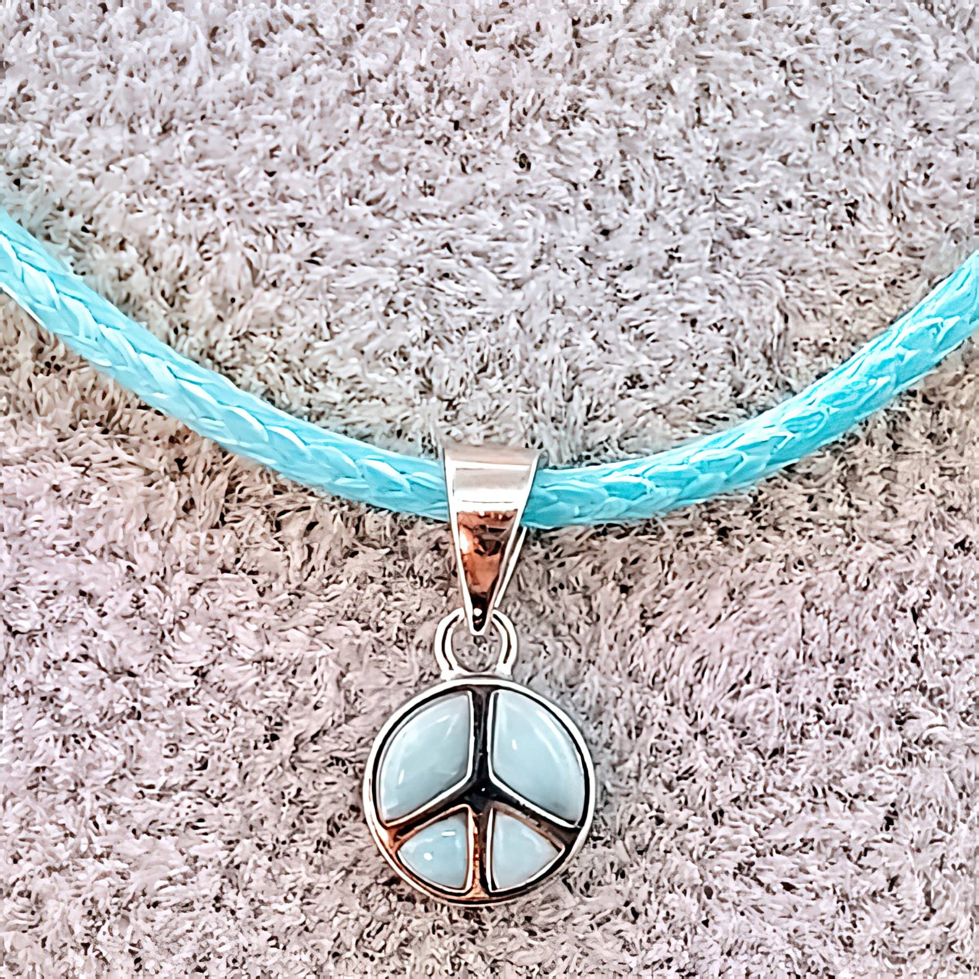 Natural Larimar Peace Sign 925 Sterling Silver Charm (4783775514718)