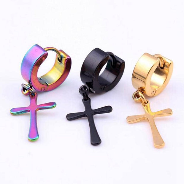 Stainless Steel Hoop Pierced Cross Earrings in 4 Styles Free Shipping from USA