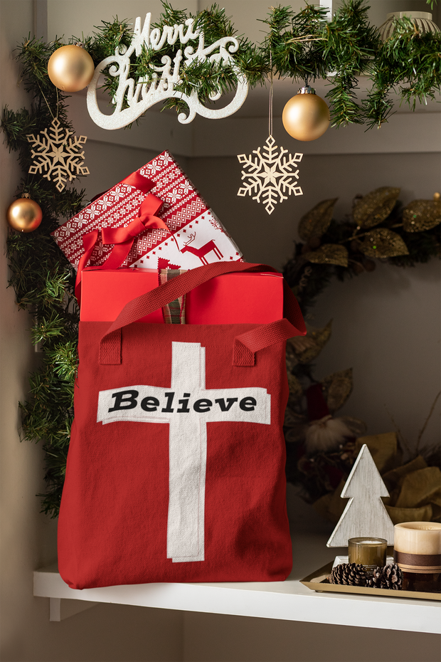 "AOP Tote Bag ""Believe"" in 3 Sizes"