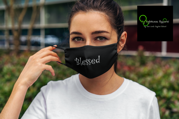"FMA Face Mask ""Blessed"" White Font (4648397275230)"