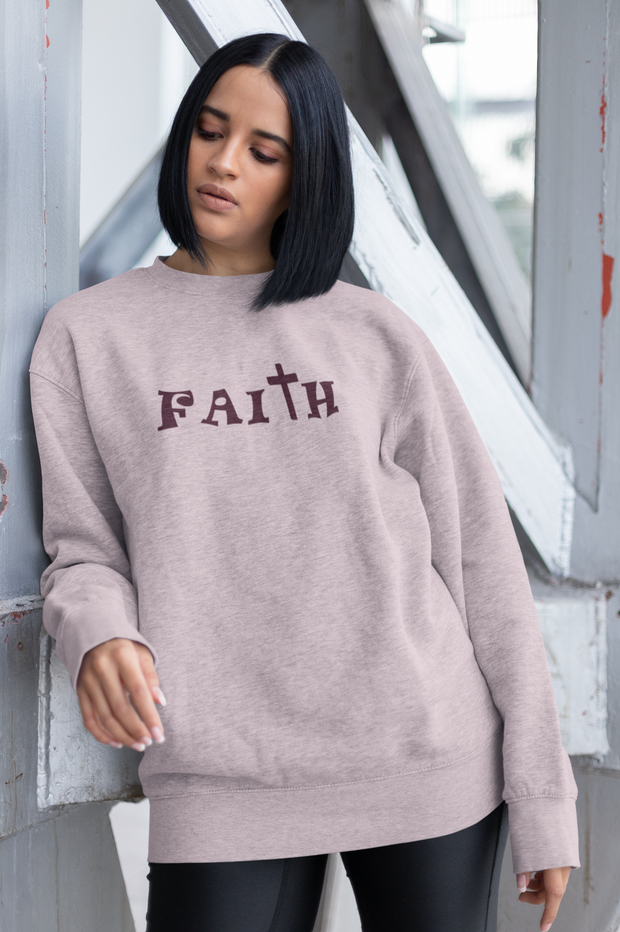 "Heavy Blend™ Crewneck Sweatshirt ""Faith"" in  12 Colors and 8 Sizes to 5XL (4290764111966)"