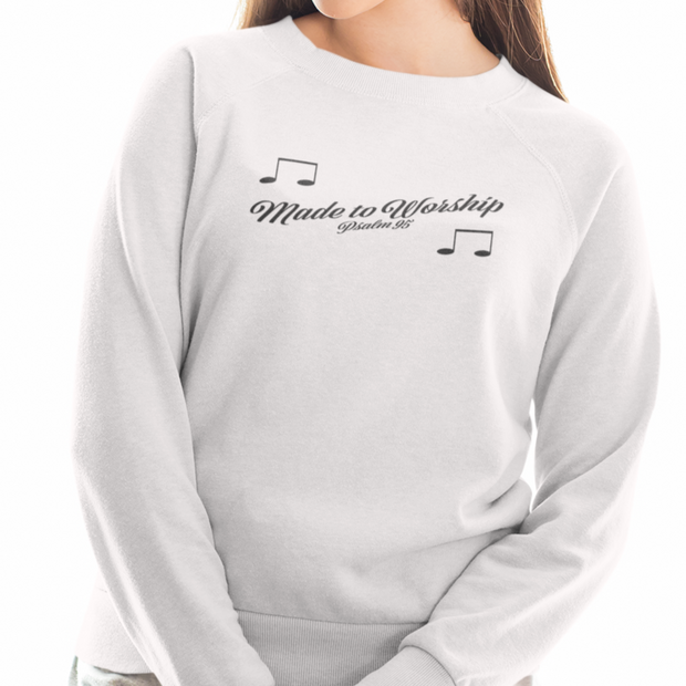 "Heavy Blend™ Crewneck Sweatshirt ""Made to Worship"" in 12 Colors and 8 Sizes to 5XL (4254658101342)"