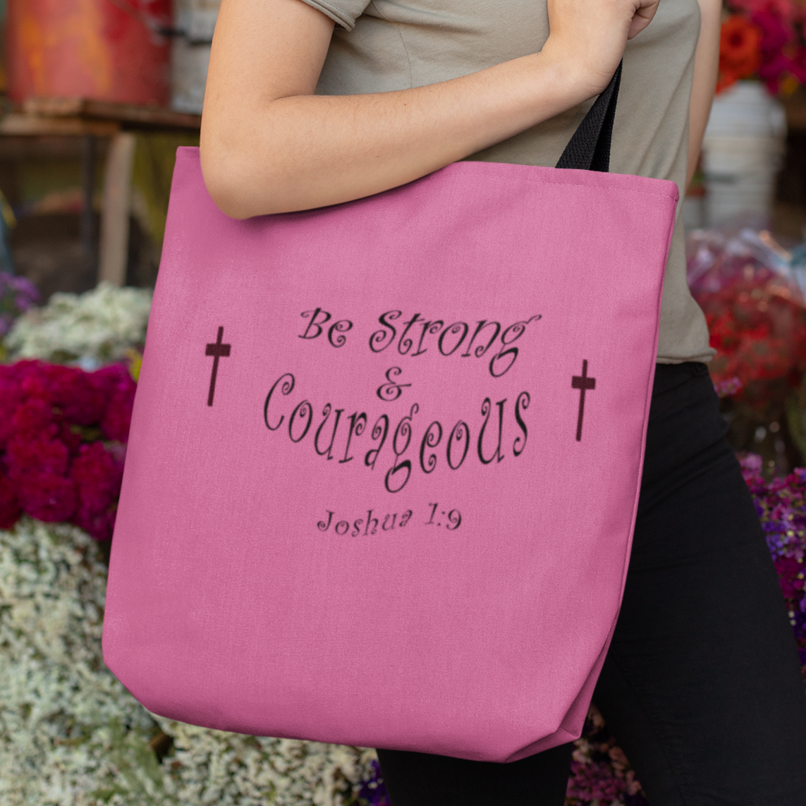 "AOP Tote Bag ""Be Strong & Courageous"" in 3 Sizes (3950333558878)"