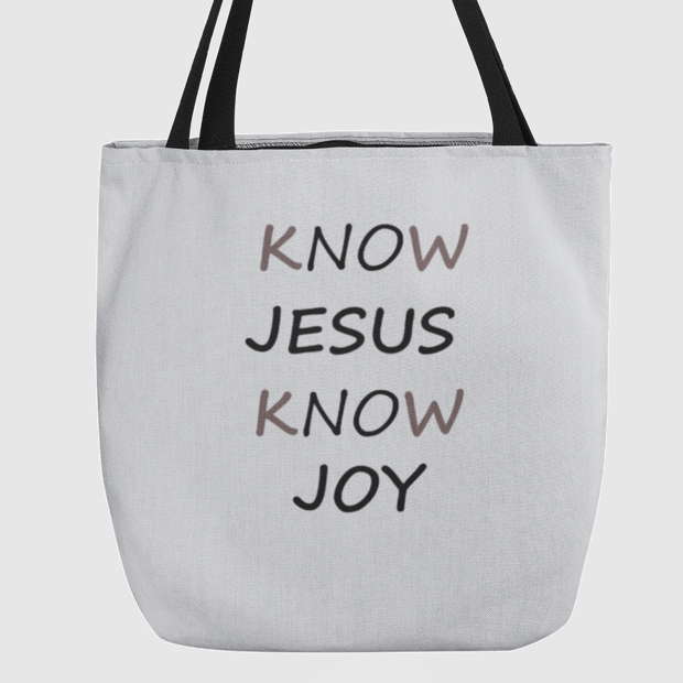 Tote Bag Know Jesus Know Joy in 3 Sizes Tote Bag (3382065070180)