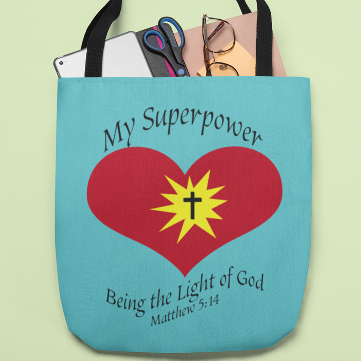 "AOP Tote Bag Tahiti Blue ""Superpower"" in 3 Sizes"