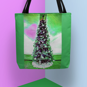 Tote Bag - Christmas Tree Pink Heart in 3 Sizes