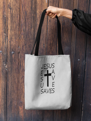 "AOP Tote Bag in 3 Sizes with Black Handle ""Jesus Saves"""