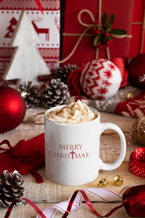 "White Ceramic Mug ""Merry Christmas"" (font 2) in 11 oz or 15 oz Sizes"