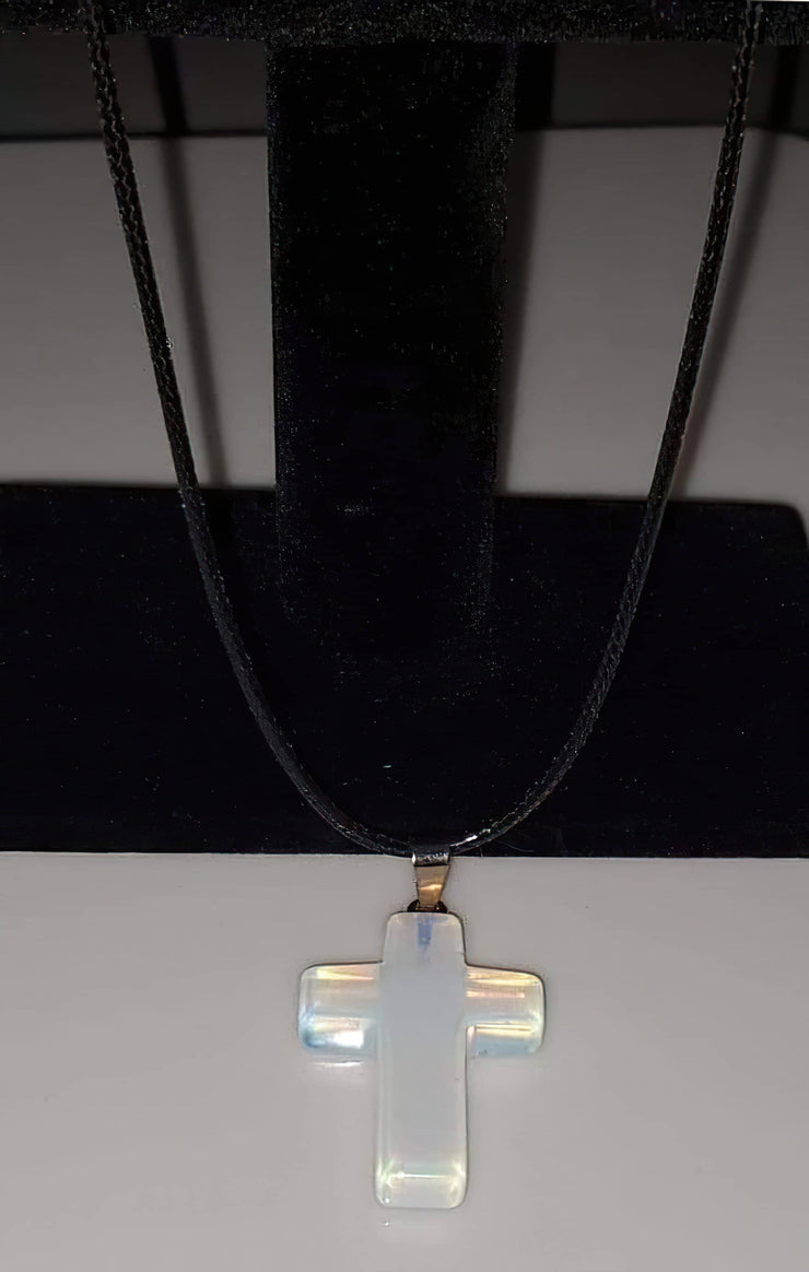 Opal Gemstone 1.6 inch Cross Necklace with Black, Pink, or White Rope Chain (4395367858270)