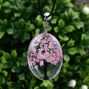 Tree of Life Dried Flower Necklace Glass Oval Terrarium in 10 Colors Free Shipping from USA