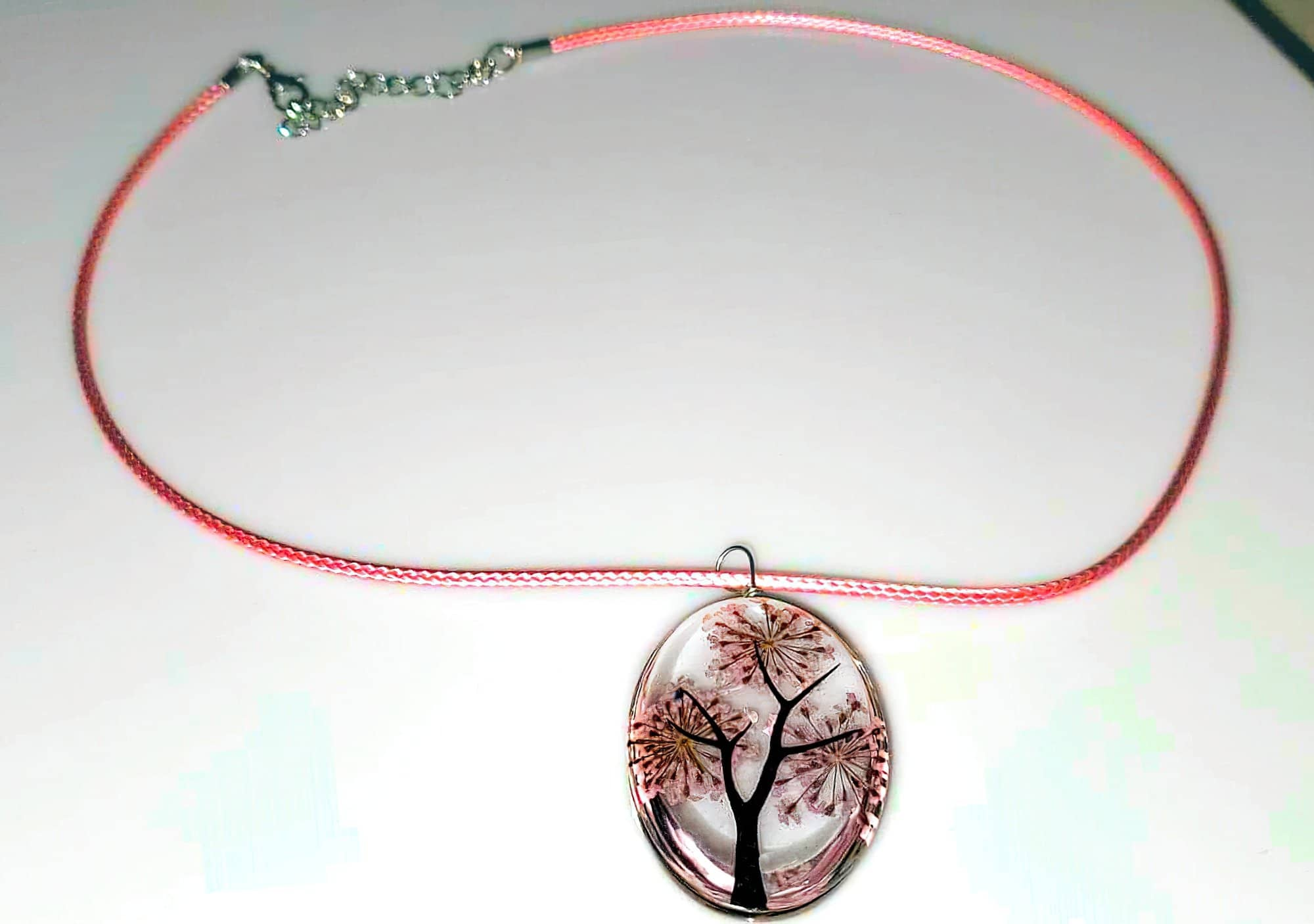 Tree of Life Dried Flower Glass Oval Terrarium Necklace Pink (4397293207646)