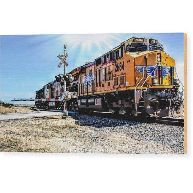 Wood Print Portrait Of A Train 12.000 x 6.750 Wood Print