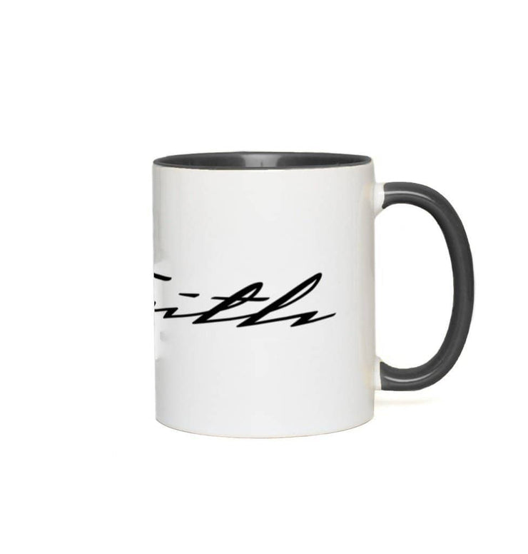 Accent Mug Faith 11 oz Black Accent White Mug Accent Mug (3349845442660)