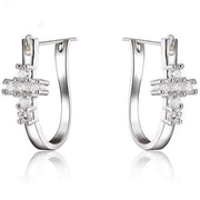 Silver Hoop Earrings with Crystal Cross  (cubic zirconia) Free Shipping from USA