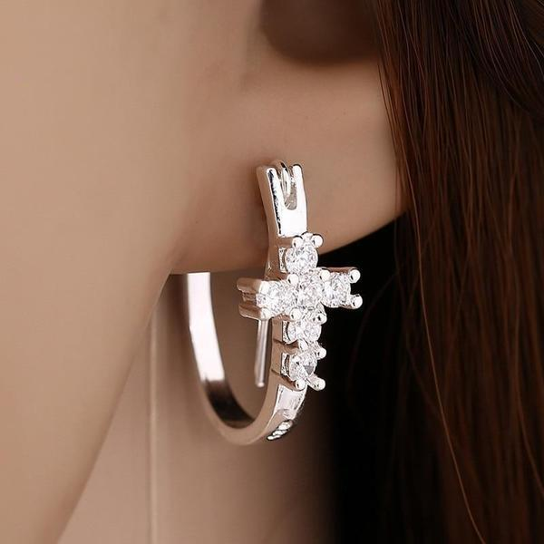 Silver Hoop Earrings with Crystal Cross  (cubic zirconia) Free Shipping from USA (1695473107044)