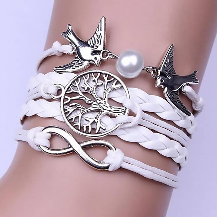 Infinity Handmade Adjustable Leather Doves Tree Infinity Charms Multilayer Bracelet