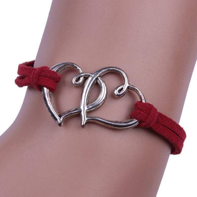 Double Heart Handmade Elastic Bracelet in 8 Colors Free Shipping from the USA (3522544861284)