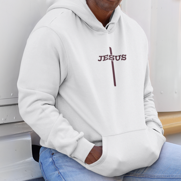"Heavy Blend™ Hooded Sweatshirt ""Jesus Cross"" in 12 Colors and 8 Sizes"
