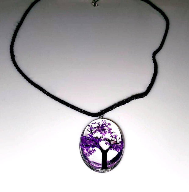 Tree of Life Dried Flower Glass Oval Terrarium Necklace in Lavender