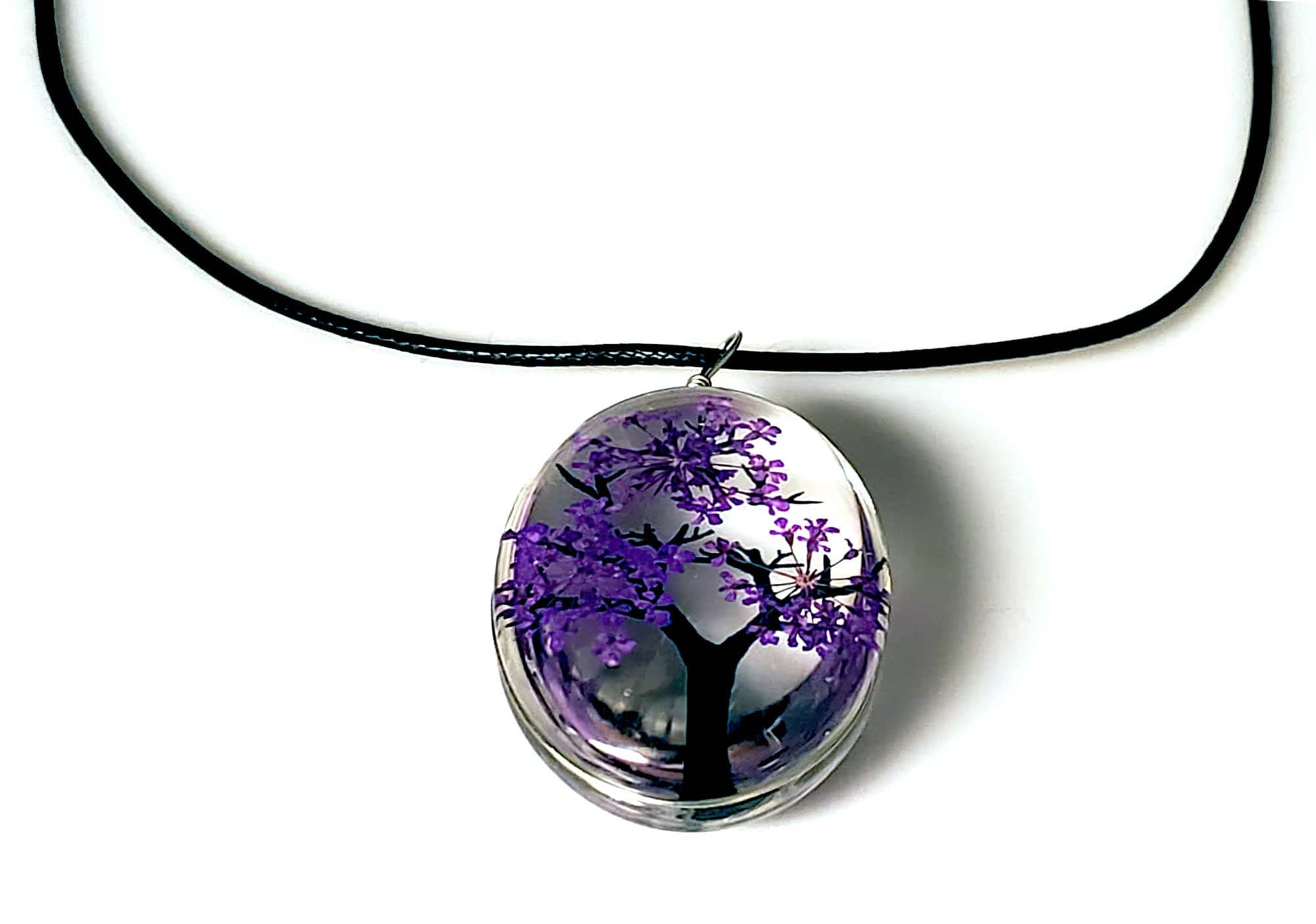 Tree of Life Dried Flower Glass Oval Terrarium Necklace in Lavender (4423604011102)