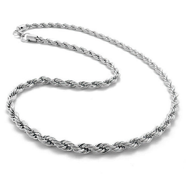 925 Sterling Silver Necklace 3MM 16-26 inch Rope Chain Free Shipping from the USA