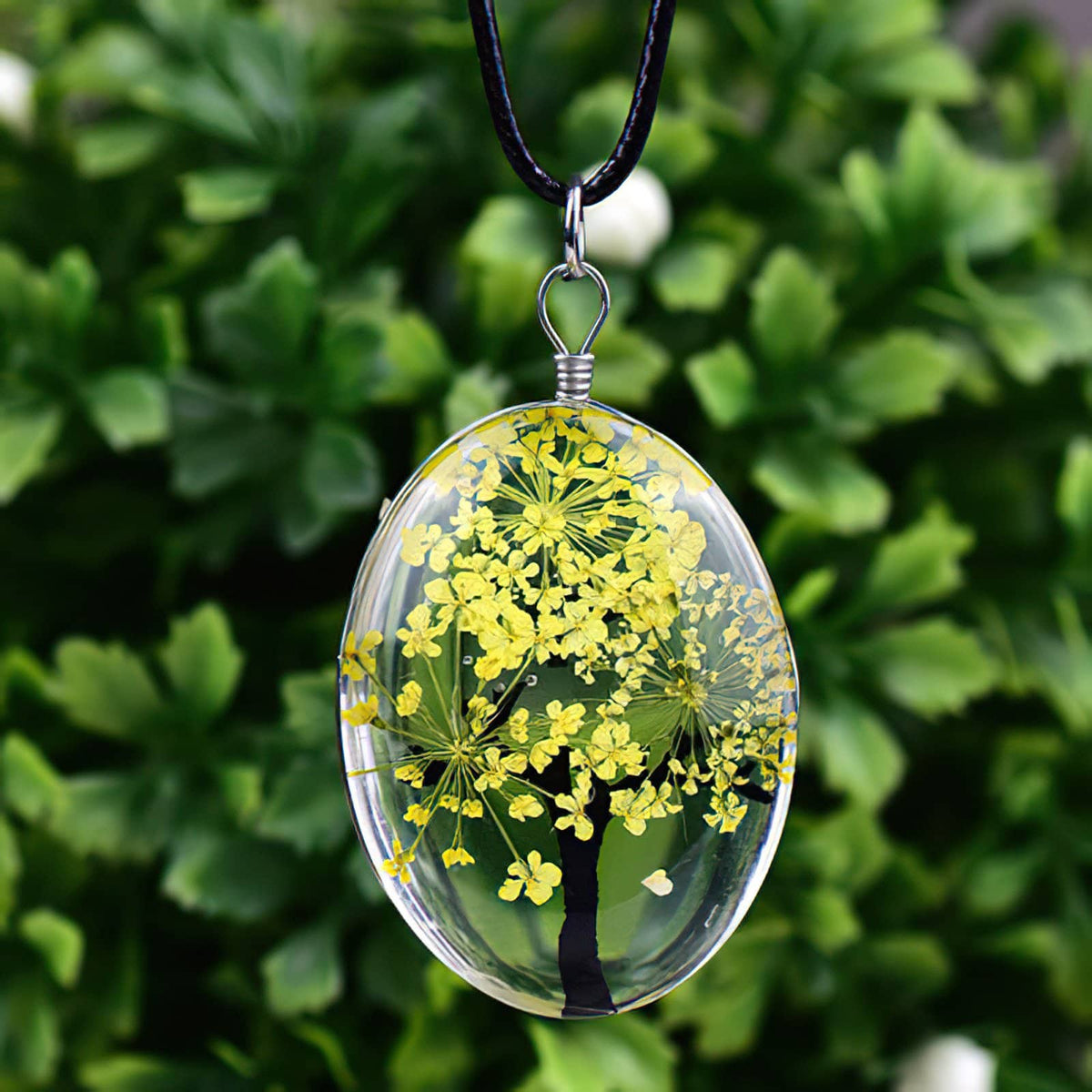 Tree of Life Dried Flower Necklace Glass Oval Terrarium in 10 Colors Free Shipping from USA (3936682836062)